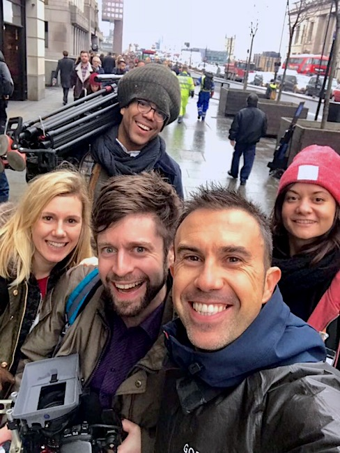 Andy Lewis MBE with Nadaav Soudry Director and video crew, City oF London